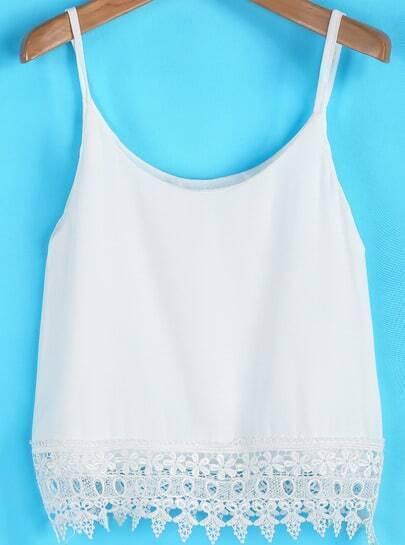 White Spaghetti Strap Lace Chiffon Vest