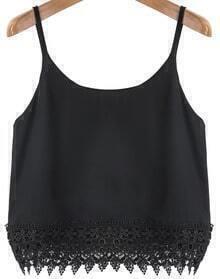 Black Spaghetti Strap Lace Chiffon Vest