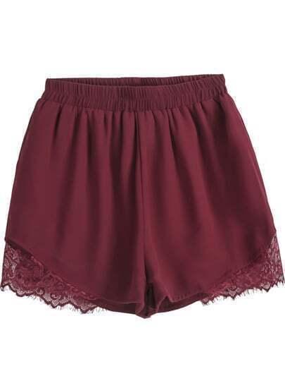 Red Elastic Waist Contrast Lace Chiffon Shorts