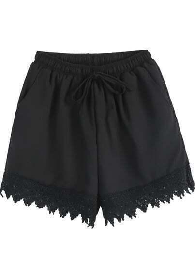 Black Elastic Waist Contrast Lace Chiffon Shorts