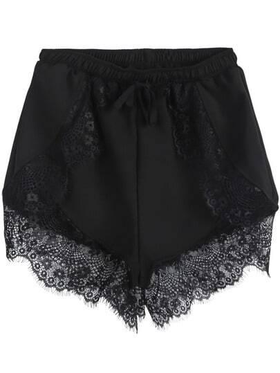 Shorts combinado encaje cintura elástica-negro