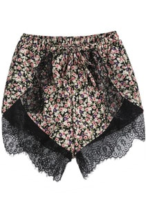 Purple Elastic Waist Lace Floral Shorts