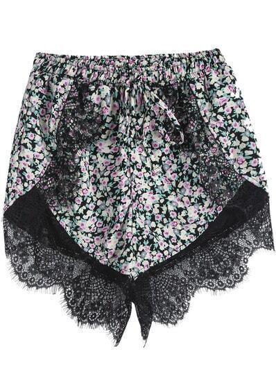 Pink Elastic Waist Lace Floral Shorts