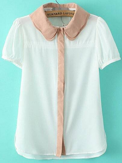 White Contrast Collar Short Sleeve Chiffon Blouse