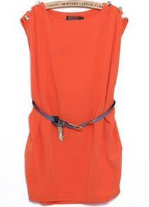 Orange Round Neck Sleeveless Buttons Loose Dress