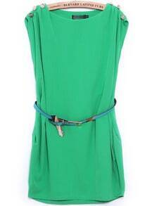Green Round Neck Sleeveless Buttons Loose Dress