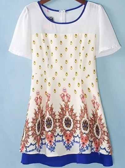 White Short Sleeve Vintage Floral Dress
