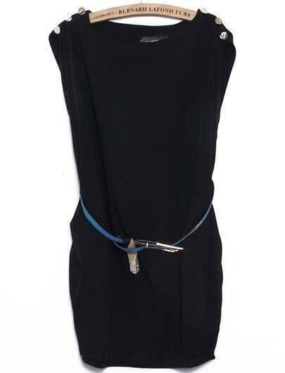 Black Round Neck Sleeveless Buttons Loose Dress