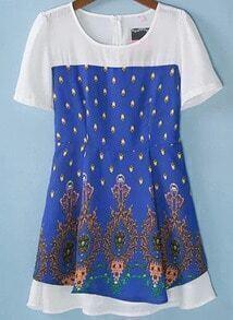 Blue Short Sleeve Vintage Floral Dress