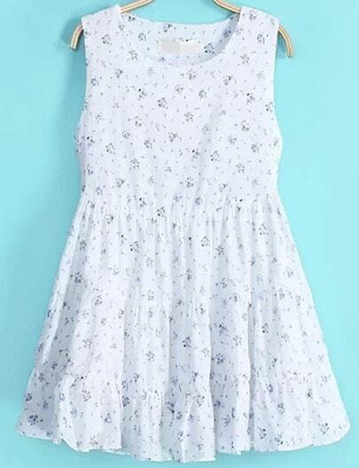 White Round Neck Sleeveless Floral Pleated Dress