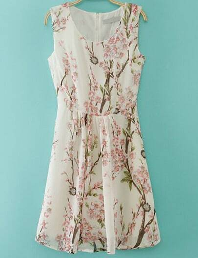 White Round Neck Sleeveless Zipper Floral Dress