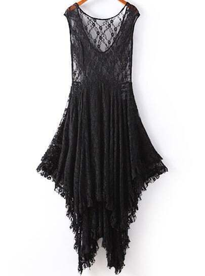 Black V Neck Sleeveless Asymmetrical Lace Dress