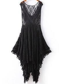 Black V Neck Sleeveless Asymmetrical Lace Dress