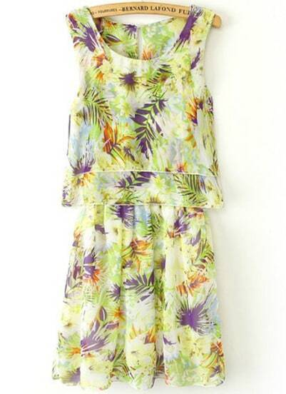 Green Sleeveless Floral Pleated Chiffon Dress