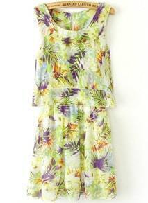 Green Sleeveless Floral Pleated Chiffon Dress