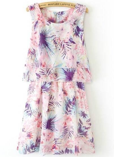 Pink Sleeveless Floral Pleated Chiffon Dress
