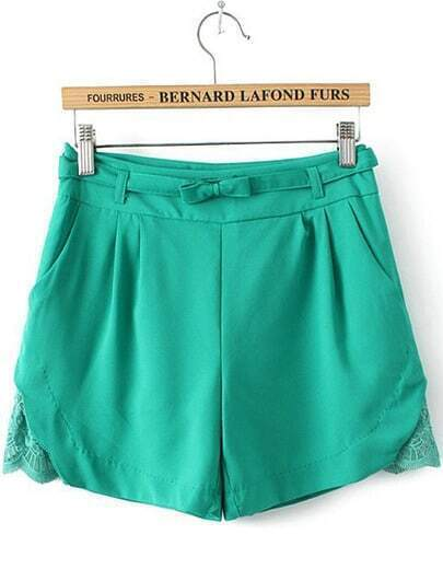 Green Pockets Hollow Bow Shorts