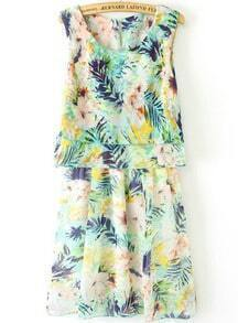 Blue Sleeveless Floral Pleated Chiffon Dress