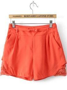 Orange Pockets Hollow Bow Shorts