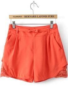 Orange Pockets Hollow Bow Shorts