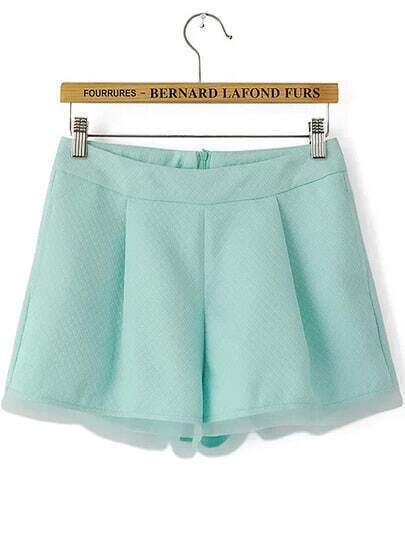 Green Pockets Contrast Organza Zipper Shorts
