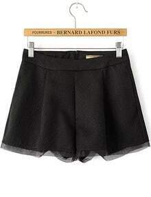 Black Pockets Contrast Organza Zipper Shorts