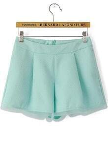Green Pockets Contrast Organza Zipper Shorts