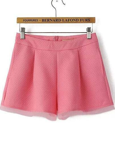 Pink Pockets Contrast Organza Zipper Shorts
