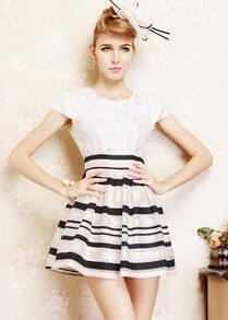 White Lace Short Sleeve Striped Flare Dress