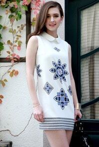 White Sleeveless Floral Slim Chiffon Dress