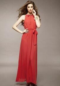 Red Off the Shoulder Belt Full Length Dress