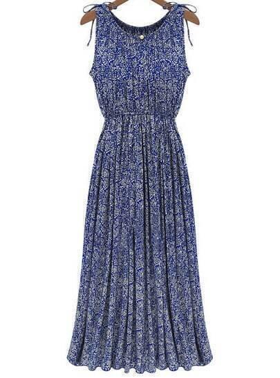 Blue Sleeveless Floral Pleated Slim Dress
