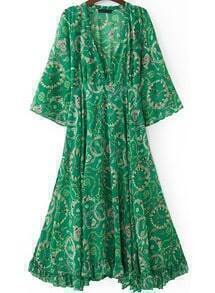 Green V Neck Vintage Floral Loose Chiffon Dress