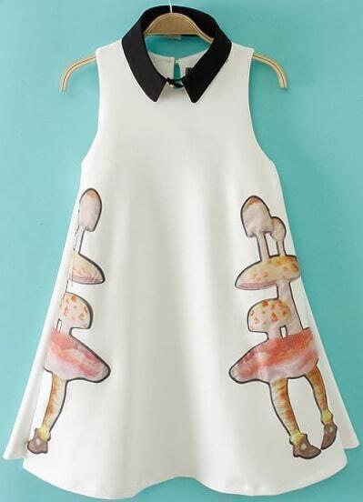 White Sleeveless Mushrooms Print A Line Dress