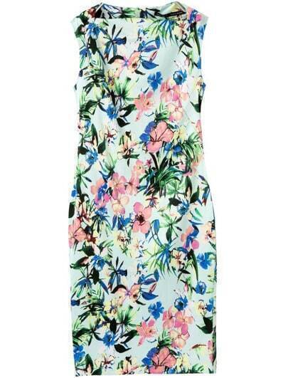 Green Boat Neck Sleeveless Floral Split Dress