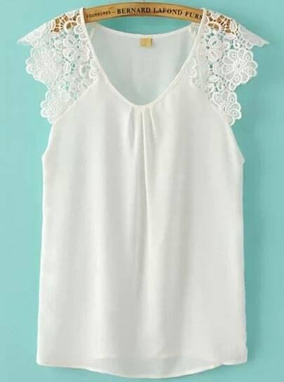 White Contrast Floral Crochet Chiffon Blouse