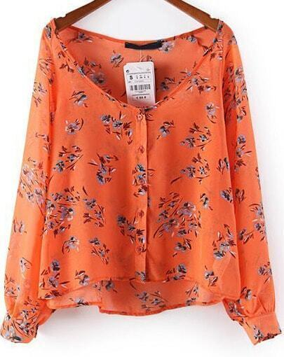 Orange Long Sleeve Floral Loose Chiffon Blouse