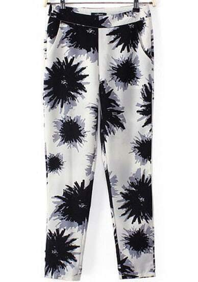 Black White Pockets Floral Pant