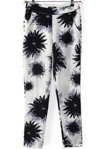 Black White Pockets Floral Pant