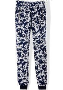 Blue White Floral Zipper Pockets Pant
