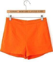 Orange Zipper Pockets Straight Shorts
