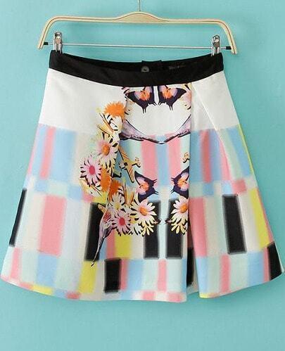 Pink Blue Floral Geometric Print Skirt