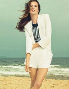 White V Neck Long Sleeve Blazer With Shorts