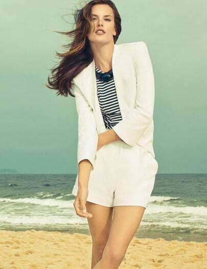 White V Neck Long Sleeve Blazer With Shorts