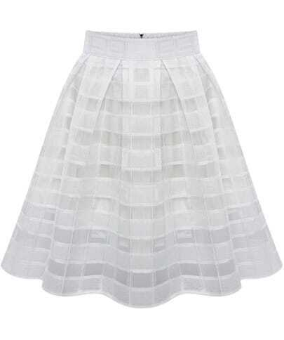 White High Waist Plaid Flare Chiffon Skirt
