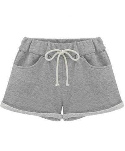 Grey Drawstring Waist Straight Shorts