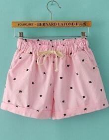 Pink Drawstring Waist Cats Print Shorts