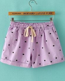 Purple Drawstring Waist Cats Print Shorts
