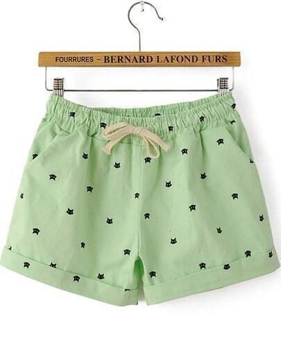 Green Drawstring Waist Cats Print Shorts