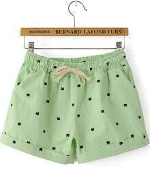 Green Drawstring Waist Cats Print Shorts